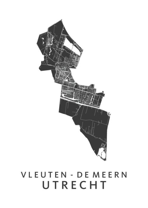 Utrecht Vleuten-De Meern Wijkkaart - wit