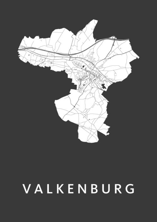 Valkenburg Black Stadskaart Poster   Kunst in Kaart