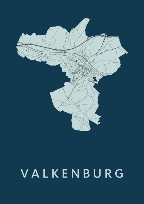 Valkenburg Navy Stadskaart Poster   Kunst in Kaart