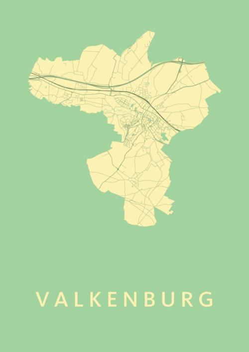 Valkenburg Spring Stadskaart Poster   Kunst in Kaart