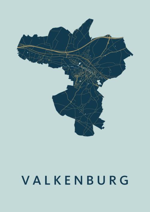 Valkenburg Prussian Stadskaart Poster   Kunst in Kaart