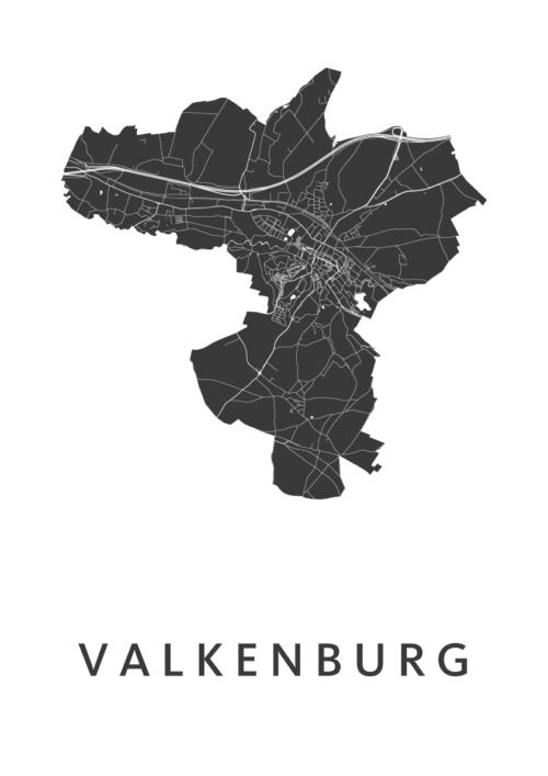 Valkenburg White Stadskaart Poster | Kunst in Kaart