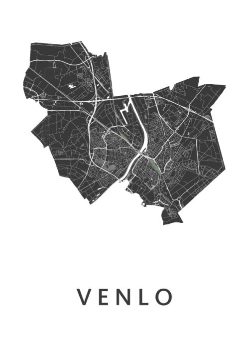Venlo White Stadskaart Poster | Kunst in Kaart