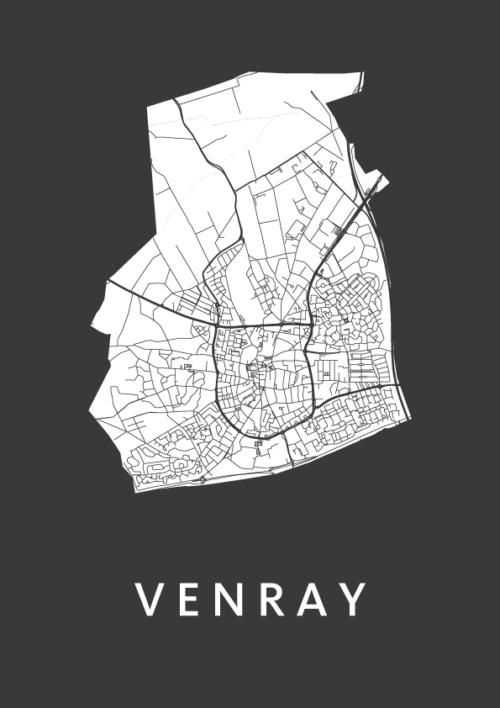 Venray City Map Black