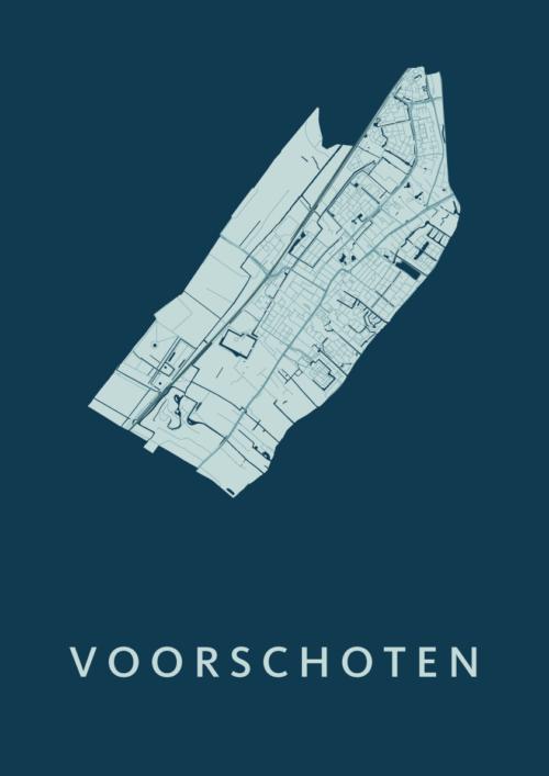Voorschoten Feldgrau Stadskaart Poster | Kunst in Kaart