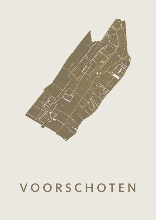 Voorschoten Gold Stadskaart Poster | Kunst in Kaart