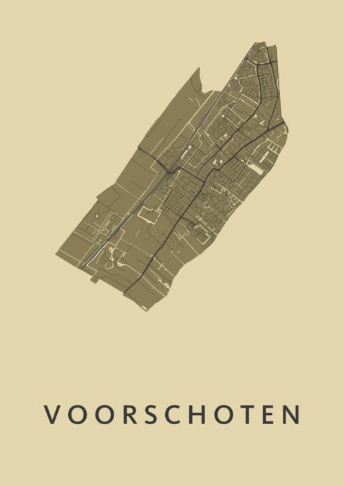 Voorschoten GoldenRod Stadskaart Poster | Kunst in Kaart