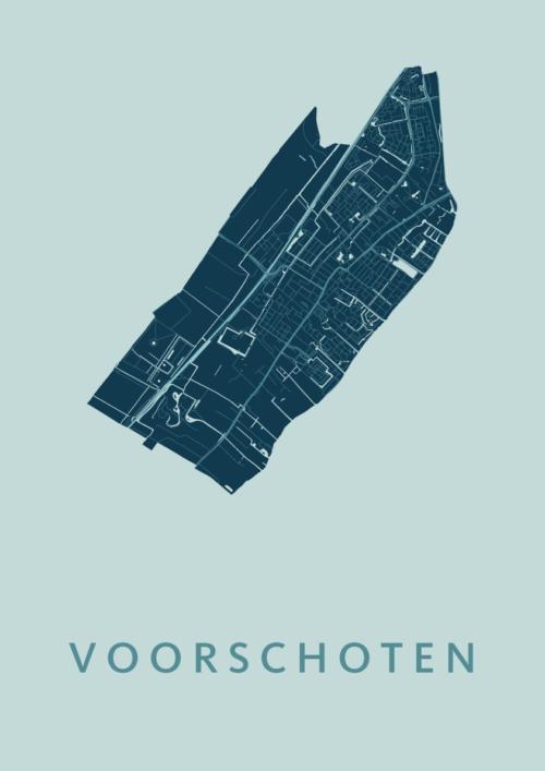 Voorschoten Mint Stadskaart Poster | Kunst in Kaart
