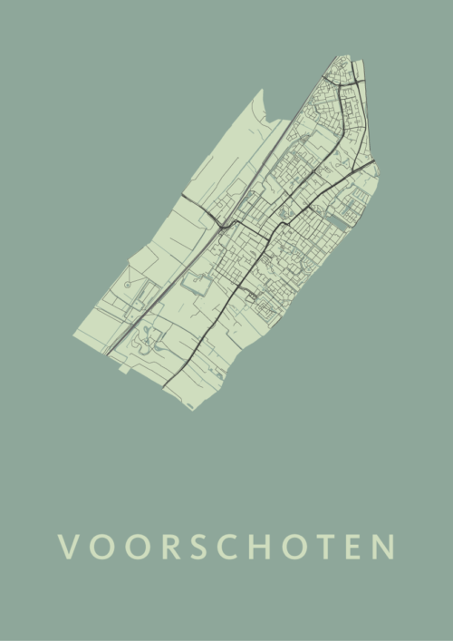 Voorschoten Olive Stadskaart Poster | Kunst in Kaart
