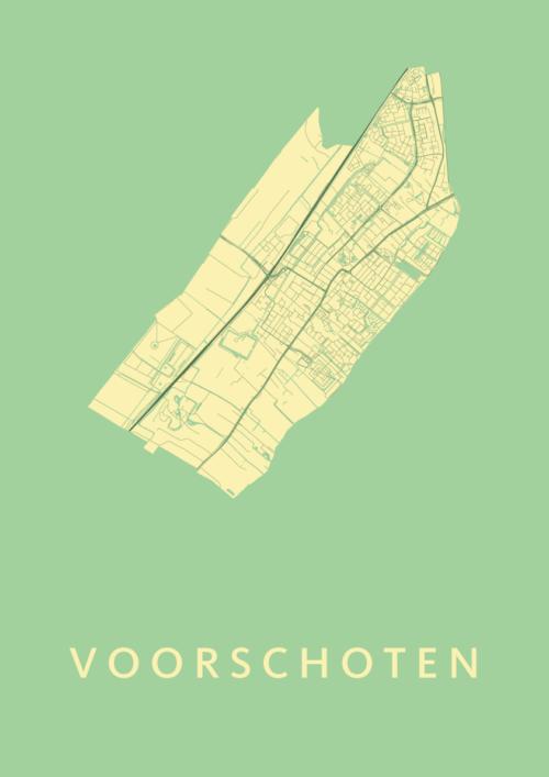 Voorschoten Spring Stadskaart Poster | Kunst in Kaart