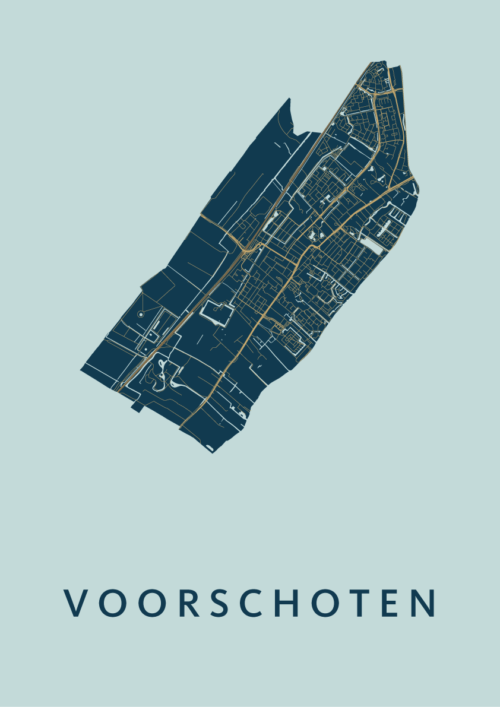 Voorschoten Prussian Stadskaart Poster | Kunst in Kaart