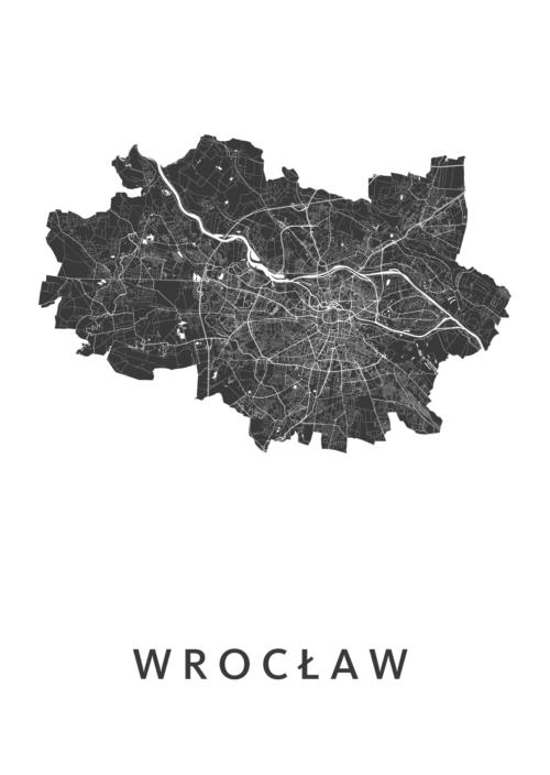 Wrocław Stadskaart - Wit