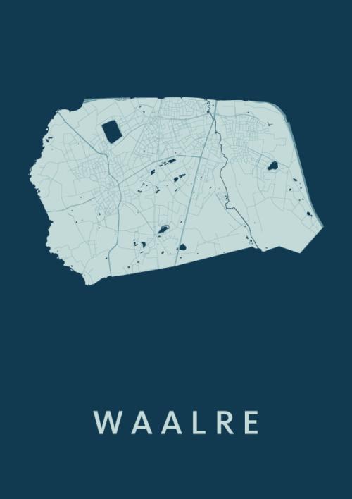 Waalre Feldgrau Stadskaart Poster | Kunst in Kaart