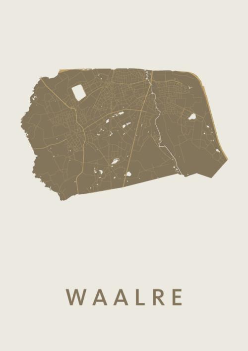 Waalre Gold Stadskaart Poster | Kunst in Kaart