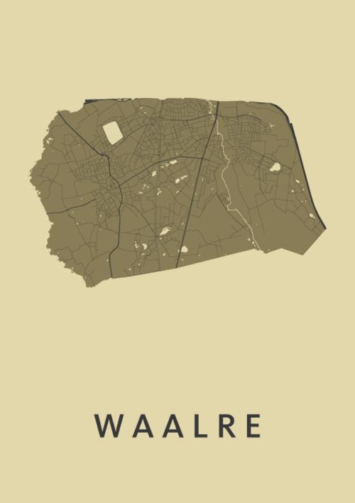 Waalre GoldenRod Stadskaart Poster | Kunst in Kaart