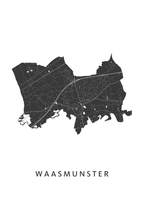 Waasmunster Stadskaart - Wit   Kunst in Kaart