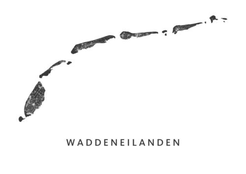 Waddeneilanden - Wit kaart poster