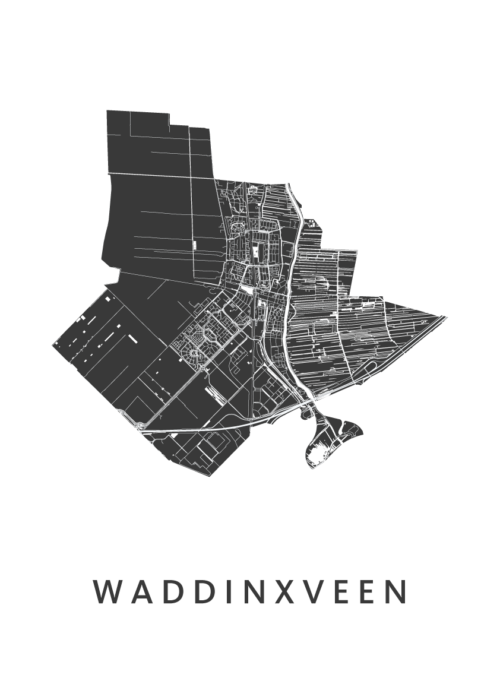 Waddinxveen White Stadskaart Poster   Kunst in Kaart