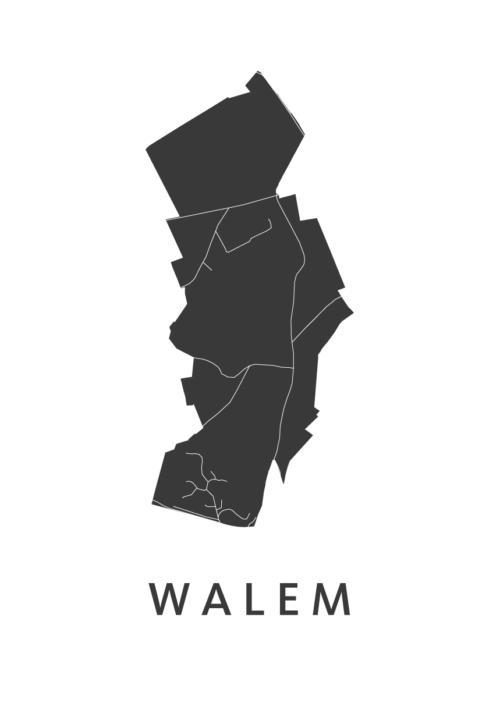 Walem Stadskaart poster - White   Kunst in Kaart