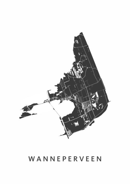 Wanneperveen Stadskaart - Wit | Kunst in Kaart
