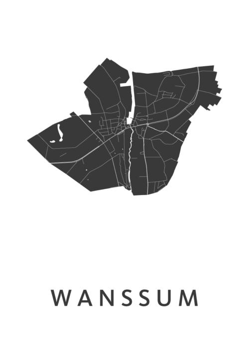 Wanssum White Stadskaart Poster | Kunst in Kaart
