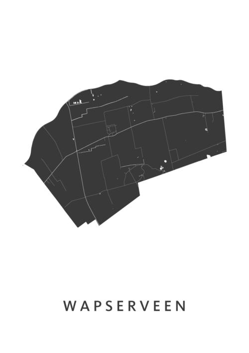 Wapserveen Stadskaart - Wit | Kunst in Kaart