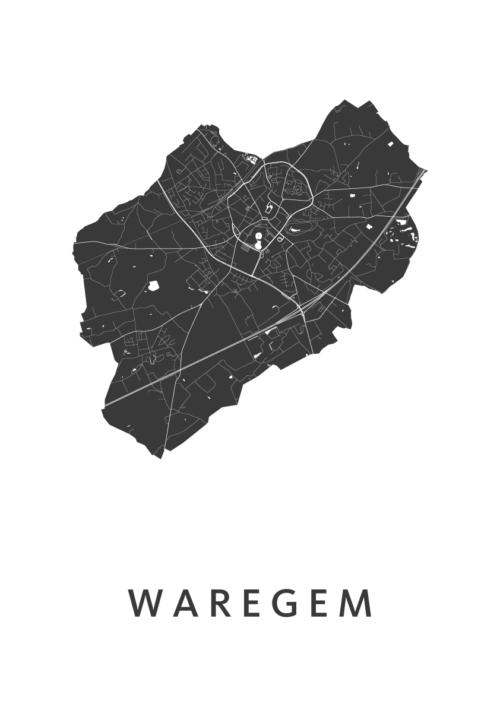 Waregem Stadskaart - Wit   Kunst in Kaart