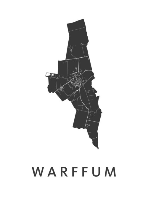 Warffum White Stadskaart Poster | Kunst in Kaart