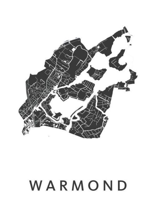 Warmond White Stadskaart Poster | Kunst in Kaart