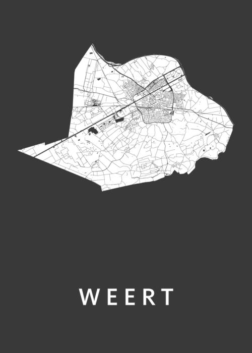 Weert Black Stadskaart Poster | Kunst in Kaart