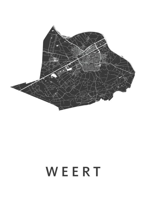 Weert White Stadskaart Poster | Kunst in Kaart