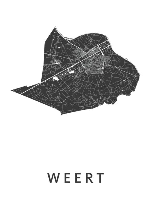 Weert White Stadskaart Poster   Kunst in Kaart