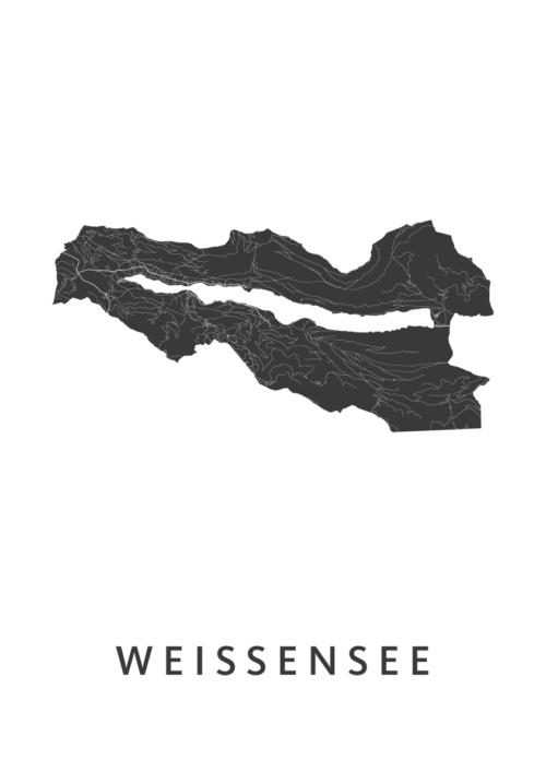 Weissensee White kaart poster