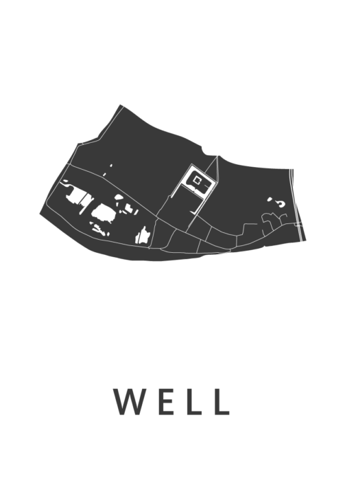 Well White Stadskaart Poster | Kunst in Kaart