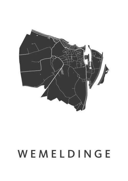 Wemeldinge White Stadskaart Poster | Kunst in Kaart