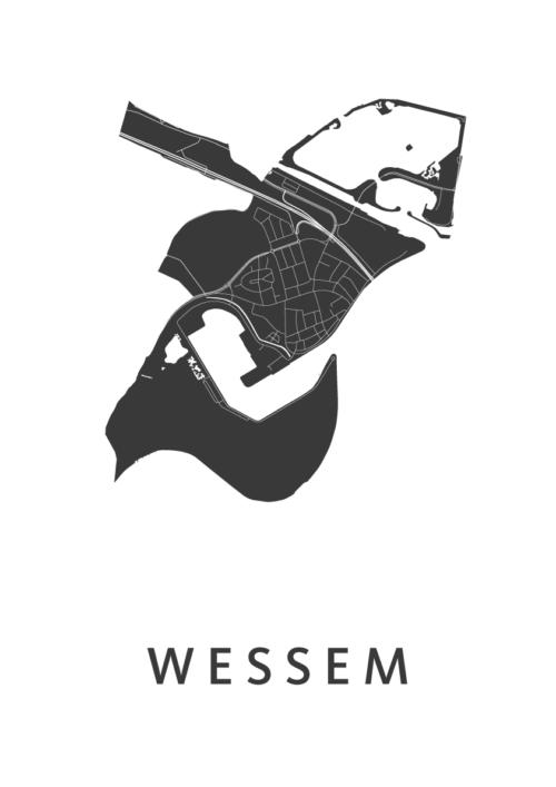 Wessem White Stadskaart Poster | Kunst in Kaart