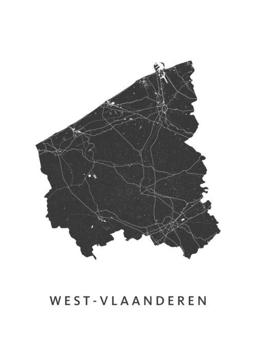 West-Vlaanderen Provinciekaart Poster