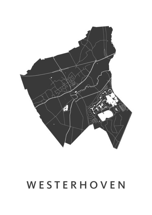 Westerhoven White Stadskaart Poster   Kunst in Kaart