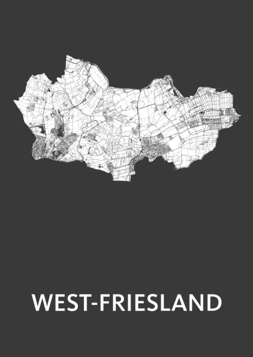 West-Friesland Black Stadskaart Poster | Kunst in Kaart