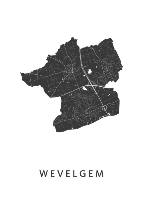 Wevelgem Stadskaart poster | Kunst in Kaart