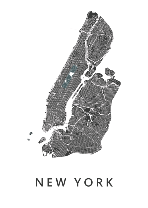New York Stadskaart Poster - Wit