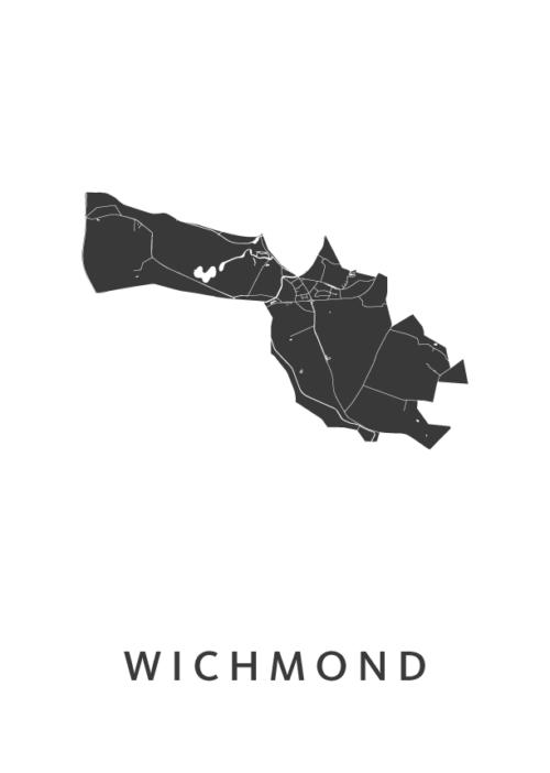 Wichmond  White Stadskaart Poster | Kunst in Kaart