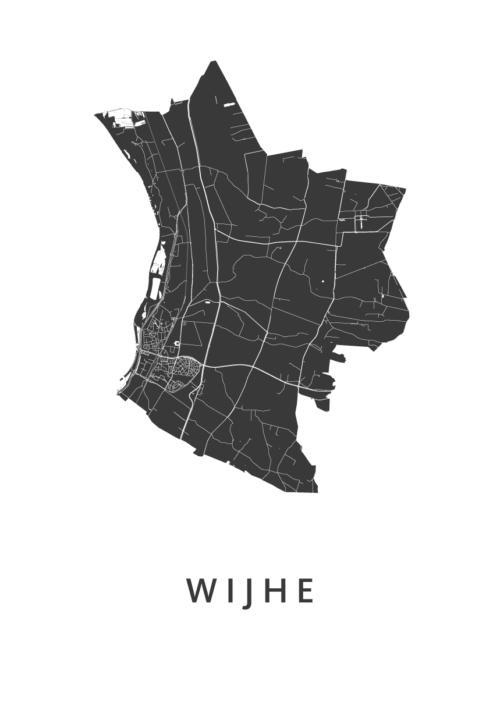 Wijhe White Stadskaart Poster | Kunst in Kaart