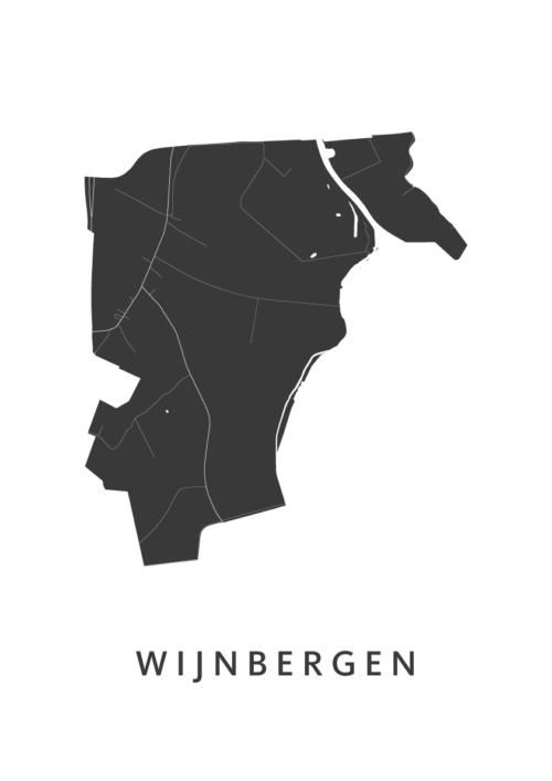 Wijnbergen Stadskaart - Wit | Kunst in Kaart