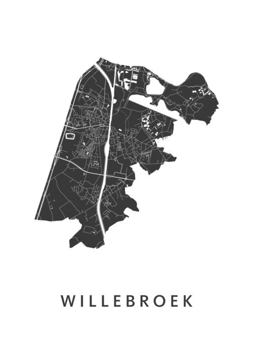 Willebroek White Stadskaart Poster | Kunst in Kaart