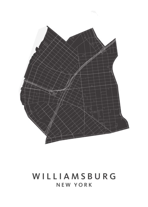 New York - Williamsburg - Wijkkaart - wit