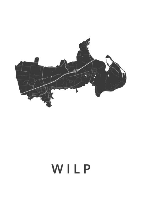 Wilp White Stadskaart Poster | Kunst in Kaart