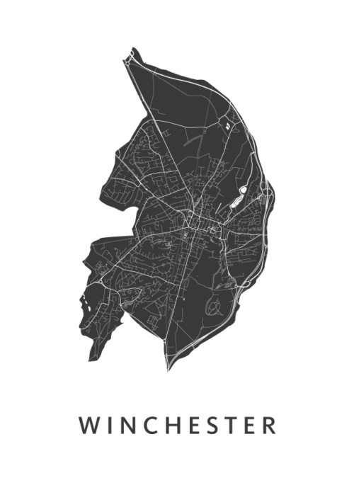 Winchester Stadskaart - Wit | Kunst in Kaart