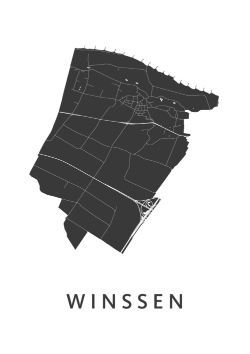 Winssen White Stadskaart Poster | Kunst in Kaart