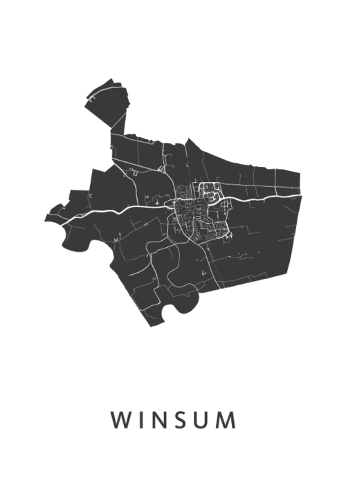 Winsum Stadskaart - Wit